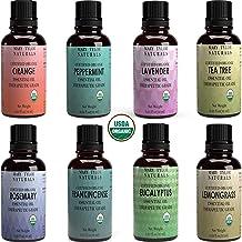 Certified Organic Essential Oils Set, Top 8 x 10 ml each, Lavender Peppermint Orange Lemongrass Rosemary Eucalyptus Tea Tree Frankincense for Aromatherapy