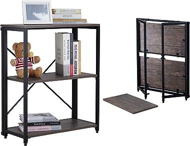 KTT 3 Tier Bookshelf, Folding Bookshelves Home Office Storage Organizer, Modern Industrial Bookcase Standing Unit Shelf, No-A