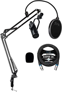 MXL BCD-1 Dynamic Mic for Live Broadcasts, Podcasting, Vocal Recording Bundle with Microphone Windscreen, Blucoil Boom Arm Plus Pop Filter, and 10-FT Balanced XLR Cable
