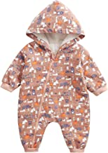 Happy Cherry Babys Cotton Romper Hooded Winter Fleece Coverall Jumpsuit Outfits