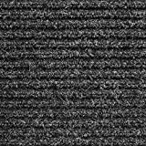 House, Home and More Heavy-Duty Ribbed Indoor Outdoor Carpet with Rubber Marine Backing - Charcoal Black - 6 Feet X 10 Feet