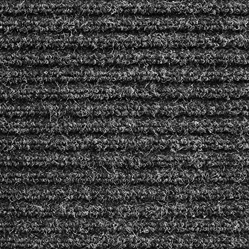 House, Home and More Heavy-Duty Ribbed Indoor Outdoor Carpet with Rubber Marine Backing - Charcoal Black - 6 Feet X 20 Feet