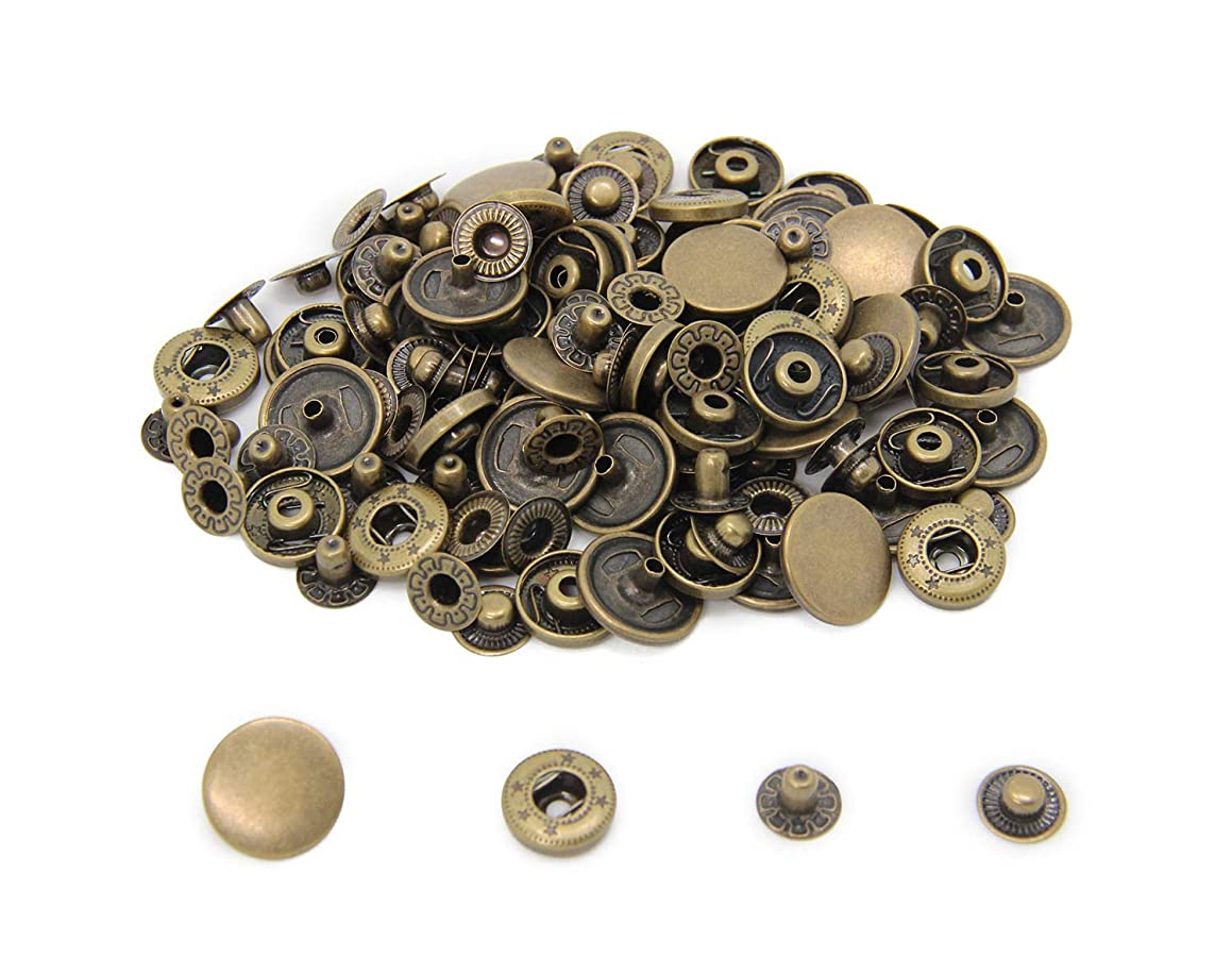 30 Sets Heavy Duty Snap Fasteners, BetterJonny 17mm Antique Brass Poppers Press Stud Rivet for Leather Craft Sewing Clothing