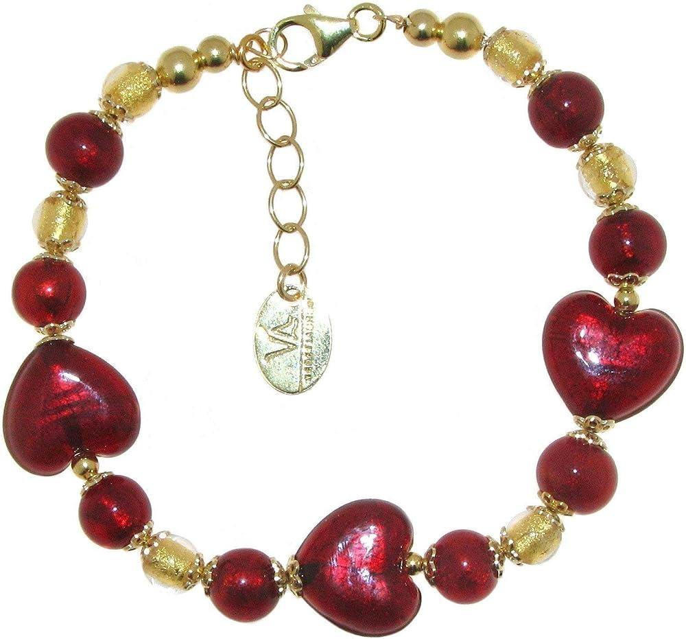 Linea italia gioielli - bracciale per donna con cuori e perle in vetro originale di murano e argento 925 925 ITALY 1431VI2