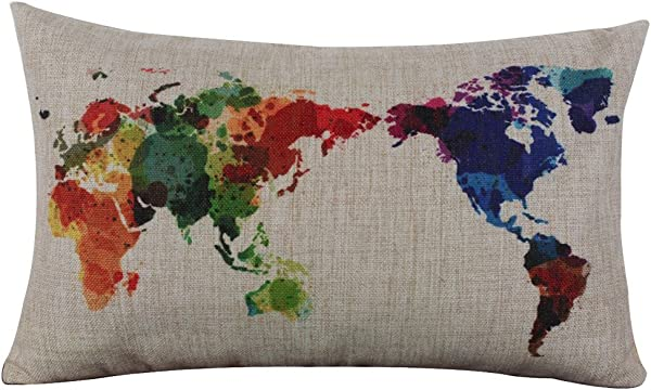 Throw Pillow Covers E Scenery World Map Rectangle Decorative Throw Pillow Cases Cushion Cover For Sofa Bedroom Car Home Decor 12 X 20 Inch