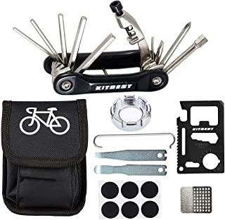 Kitbest Bike Repair Tool, 10 in 1 Bicycle Multi Tool Bike Chain Tool with Handy Bag, Included Spoke Wrench, Glueless Tire Tube Patches, Tire Lever Set