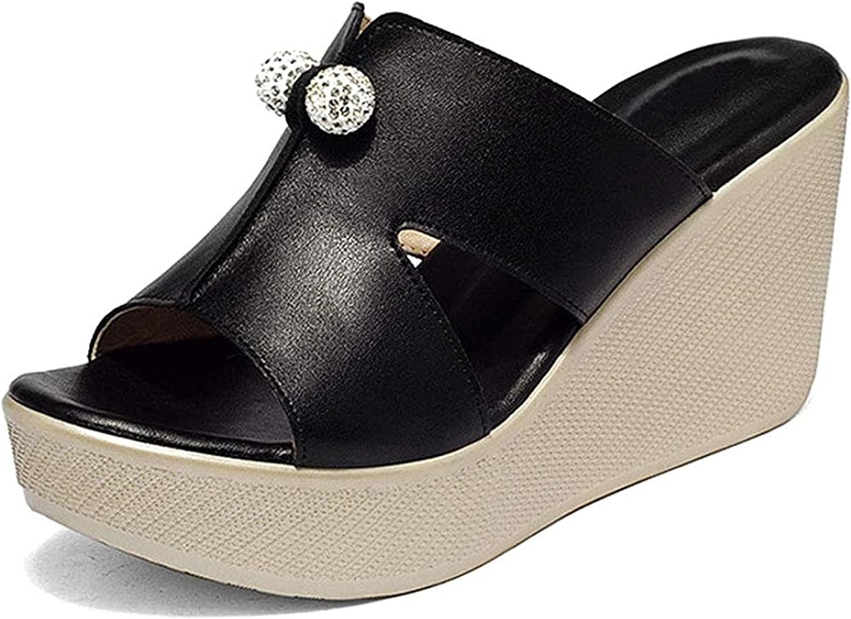 Women's Platform Slide Sandals Rhinestone Balls Wedge Heel Shoes Slip On Open Toe Pump Sandals (Color : Black, Size : 9)