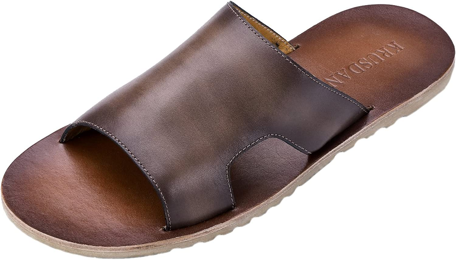 Tortor 1bacha Men's Leather Open Toe Cut-Out Upper Slippers