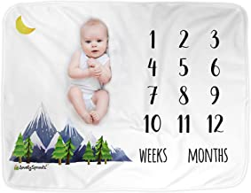 LovelySprouts Premium Fleece Monthly Milestone Blanket   Will Not Wrinkle or Fade Like Muslin Blankets   Large 60 x 40 Size   The Original   Perfect for Baby Boy or Girl Photo Props, Mountain