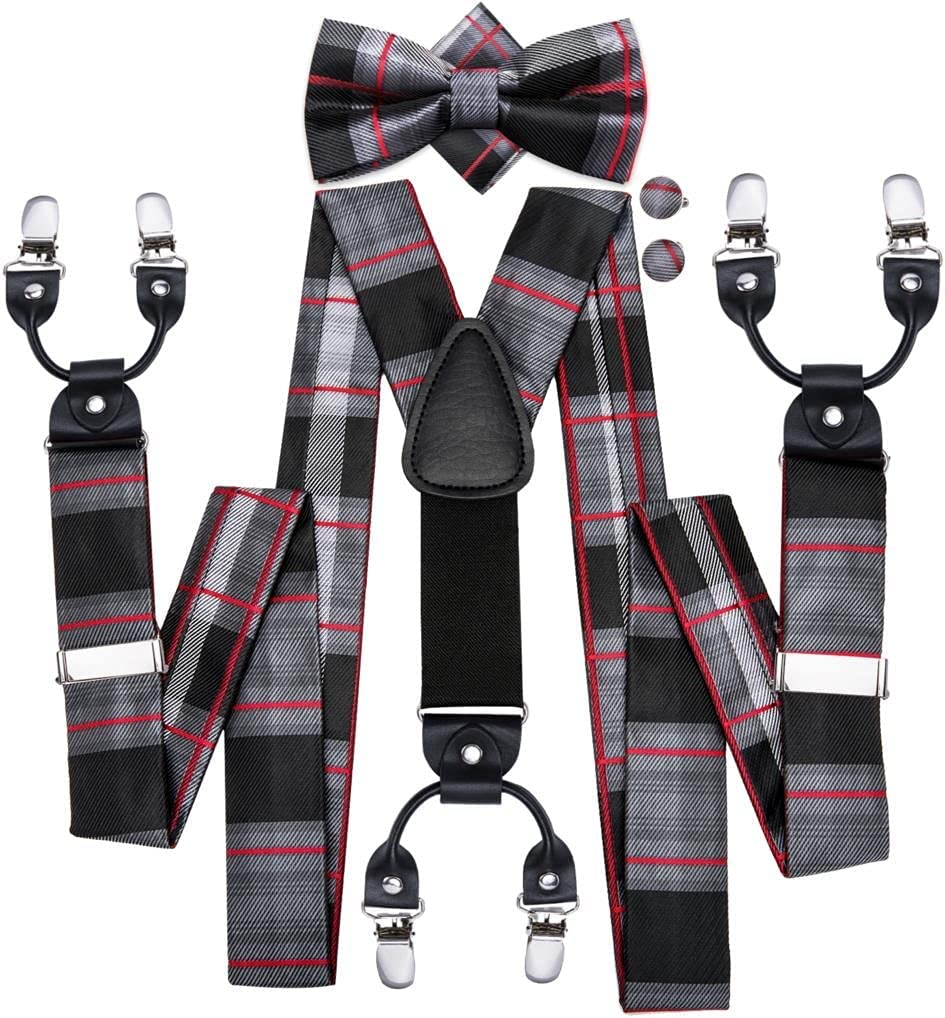 YFQHDD Men Suspenders Plaid Fashion Wedding Various 6 Clips Party Pre-Tied Bowtie Pocket Square Set Adjustable Braces (Color : A, Size : Adjustable)