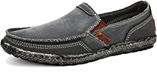 Sponsored Ad - JAMONWU Mens Canvas Shoes Slip on Deck Shoes Casual Cloth Boat Shoes Non Slip Casual Loafer Flat Outdoor Sn...