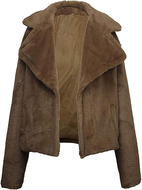 Women's Short Faux Fur Coat Solid Colored Turndown Long Sleeve Outwear