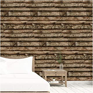 HaokHome 29804 Faux Wood Wallpaper Tree Trunks Log Cabin Wall for Home Bedroom Kitchen Bathroom Wall Decoration 20.8