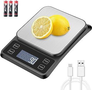MOSUO Balance Cuisine Balance de Précision USB Rechargeable, 10kg/1g Balance de Cuisine Electronique Acier Inoxydable, Mes...