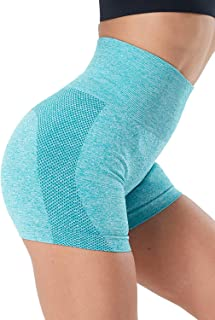 NORMOV Seamless High Waist Gym Shorts for Women Hollow Mesh Breathable Compression Workout Yoga Shorts 3""