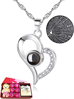 I Love You Necklace 100 Languages Gift Set | Nano Jewelry Projection Necklace | Romantic Gifts for Her