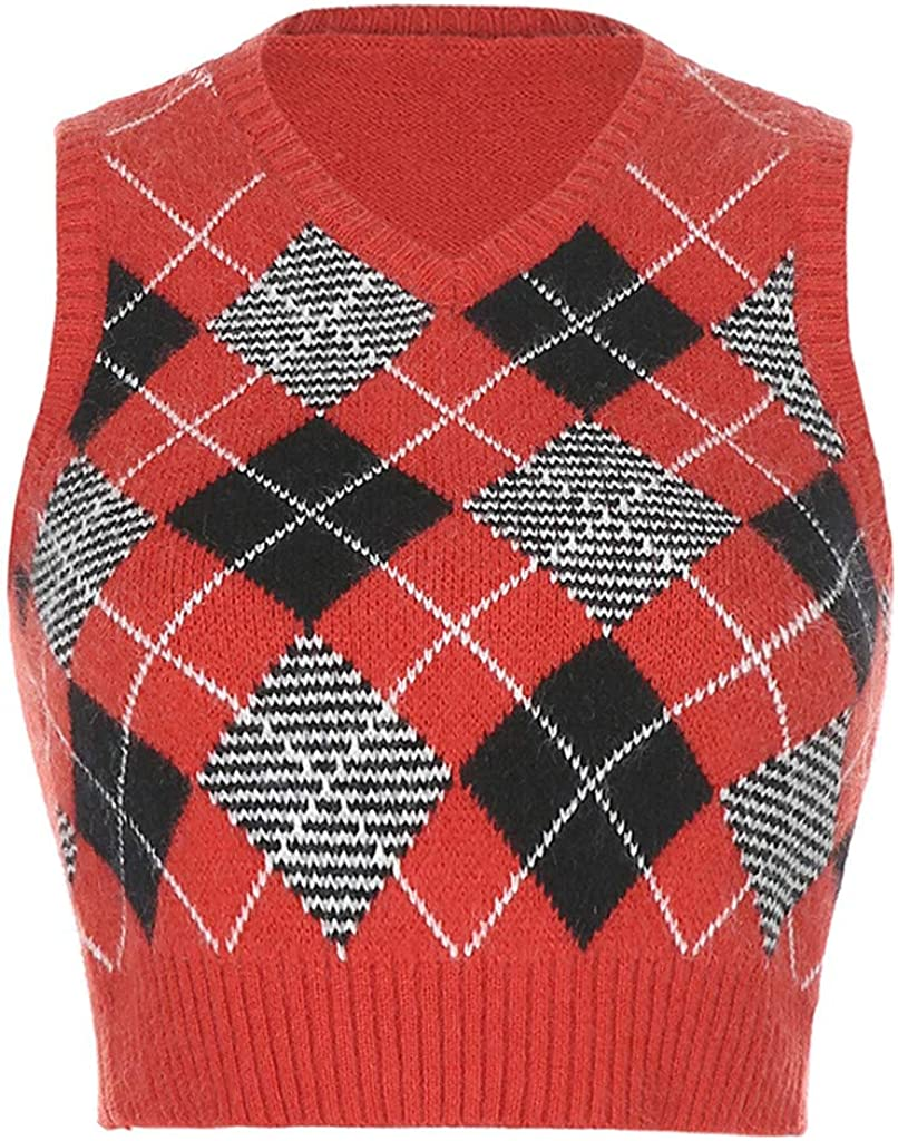 Womens Casual Retro Lingge Pattern Plaid Knitted Sleeveless Tank Top V-Neck Vest Crop Top Blouse Sweater