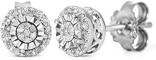 diamond sterling silver earrings