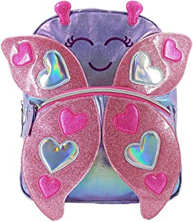 Preschool Backpack Cute Back pack Lightweight Kids Bag Sparkly Pink Butterfly Bookbags for Girls 3-6 Years Old