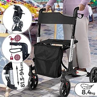 Jago® Rollator – 6-fach höhenverstellbar, Sitz mit Rückenlehne, 3-fach Faltbar..