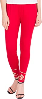 American-Elm Women's Stylish Ankle length Legging- Red