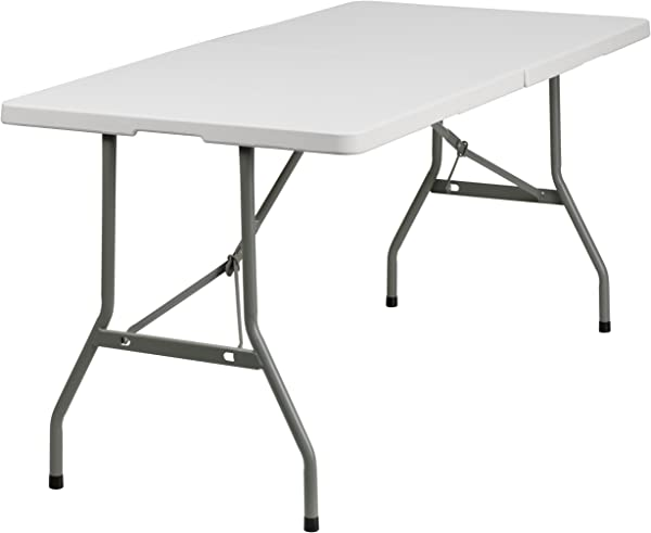 Flash Furniture 30 W X 60 L Bi Fold Granite White Plastic Folding Table