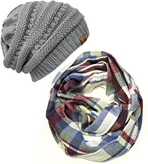 Wrapables Women's Plaid Print Infinity Scarf and Beanie Hat Set