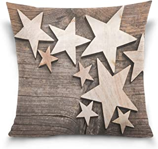 LEFEI Wooden Stars On A Wooden Table Cotton Standard Hidden Zipper Pillowcases,Super Soft Cozy Pillowcases for Hair and Skin