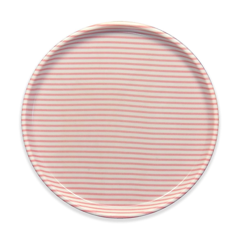 借りている焦がすシンポジウムタツクラフト NR ランチョン トレー 丸 ストライプ ピンク すべり止め付 電子レンジ対応 プラスチック 子供