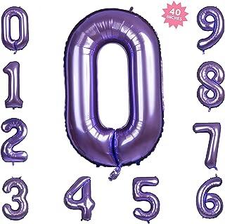 40 Inch Purple Jumbo Digital Number Balloons 0 Huge Giant Balloons Foil Mylar Number Balloons for Birthday Party,Wedding, Bridal Shower Engagement