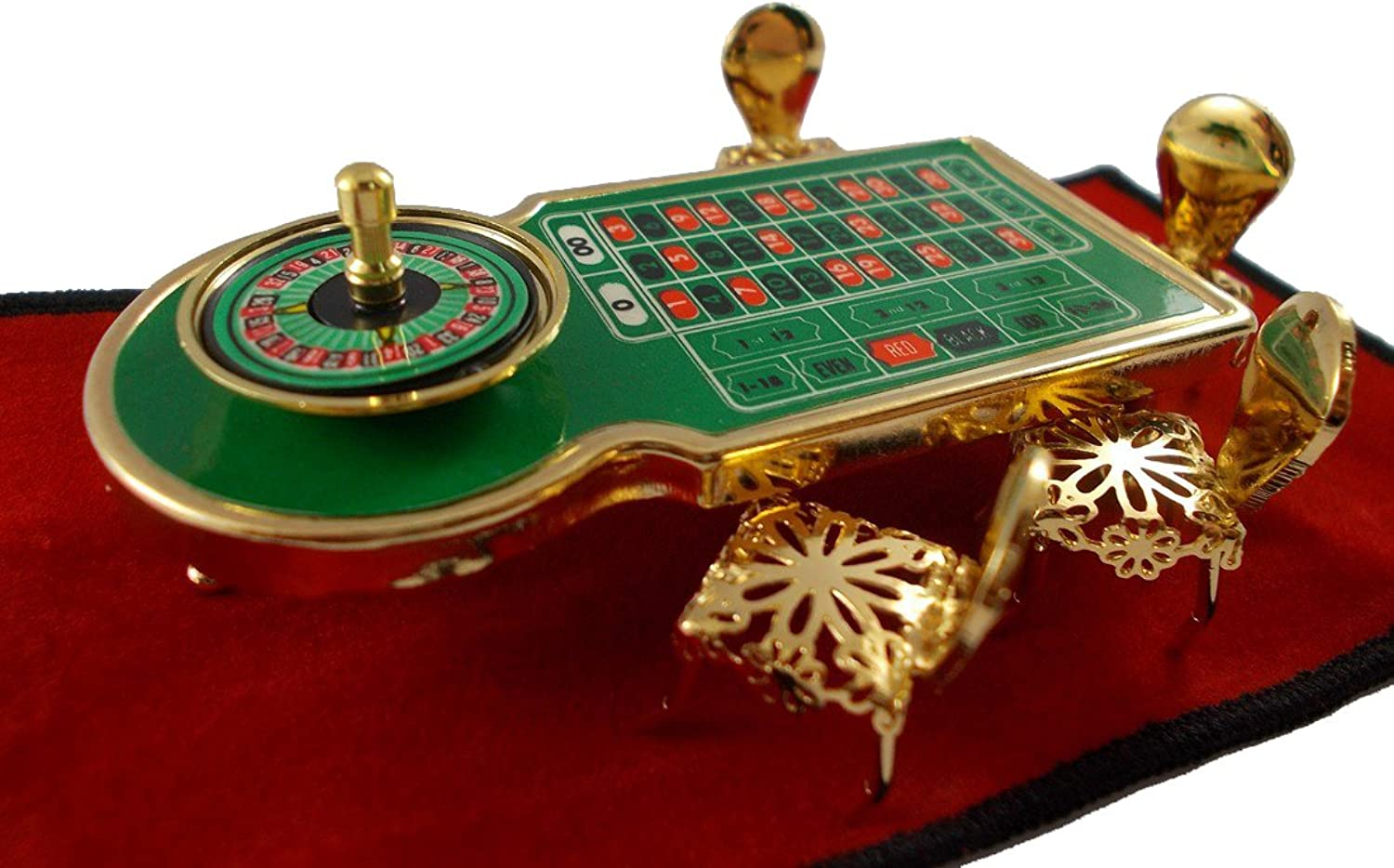 Roulette Table and Chairs Miniature Table Casino Brass Decor Figurines Chairs Dollhouse Brass collectibles Furniture