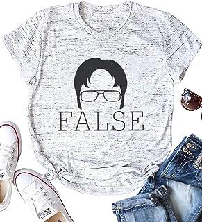 AEURPLT Womens The Office Tshirt False Funny T Shirt Graphic Tee Shirts Tops