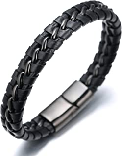 ● Solo ● Men's Genuine Leather Bracelet with Titanium Chain Gun Black/Moonlight..