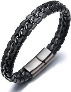 ● Solo ● Men's Genuine Leather Bracelet with Titanium Chain Gun Black/Moonlight Silver/Honor Gold 8.5