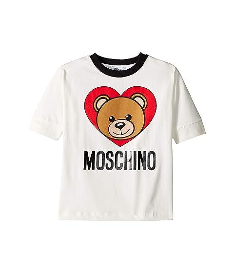 Moschino Kids Short Sleeve Teddy Bear Heart Logo T-Shirt (Little Kids/Big Kids)
