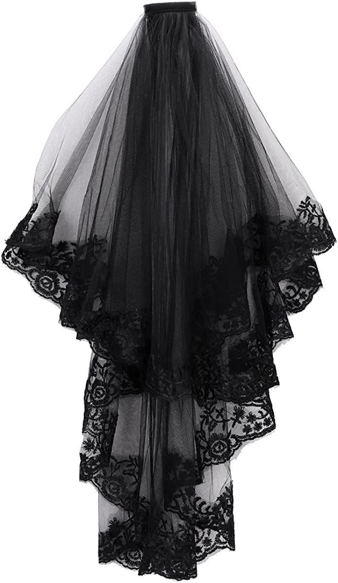 2T Tier Black Lace Veil Hair Accessory 2 layers Creative Cathedral Wedding Veil with Comb Costume Accessory Party Veil Headwear