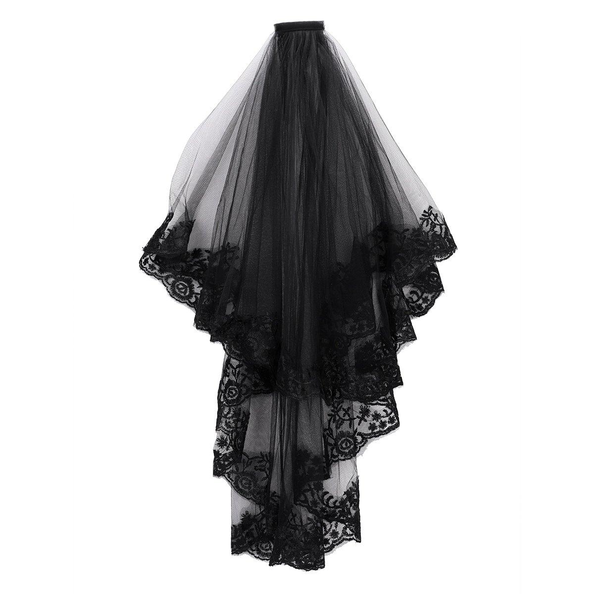 Womens Face Veil Hair Band Black Wedding Hen Party Witch Halloween Fancy Dress