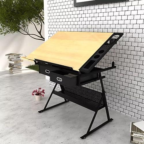 Anself Künstler Tisch Schreibtisch verstellbar mit Hocker und zWeißSchubladen