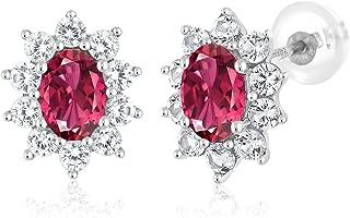 10K White Gold 1.56 Ct Pink Tourmaline Women's Oval Halo Stud Earrings