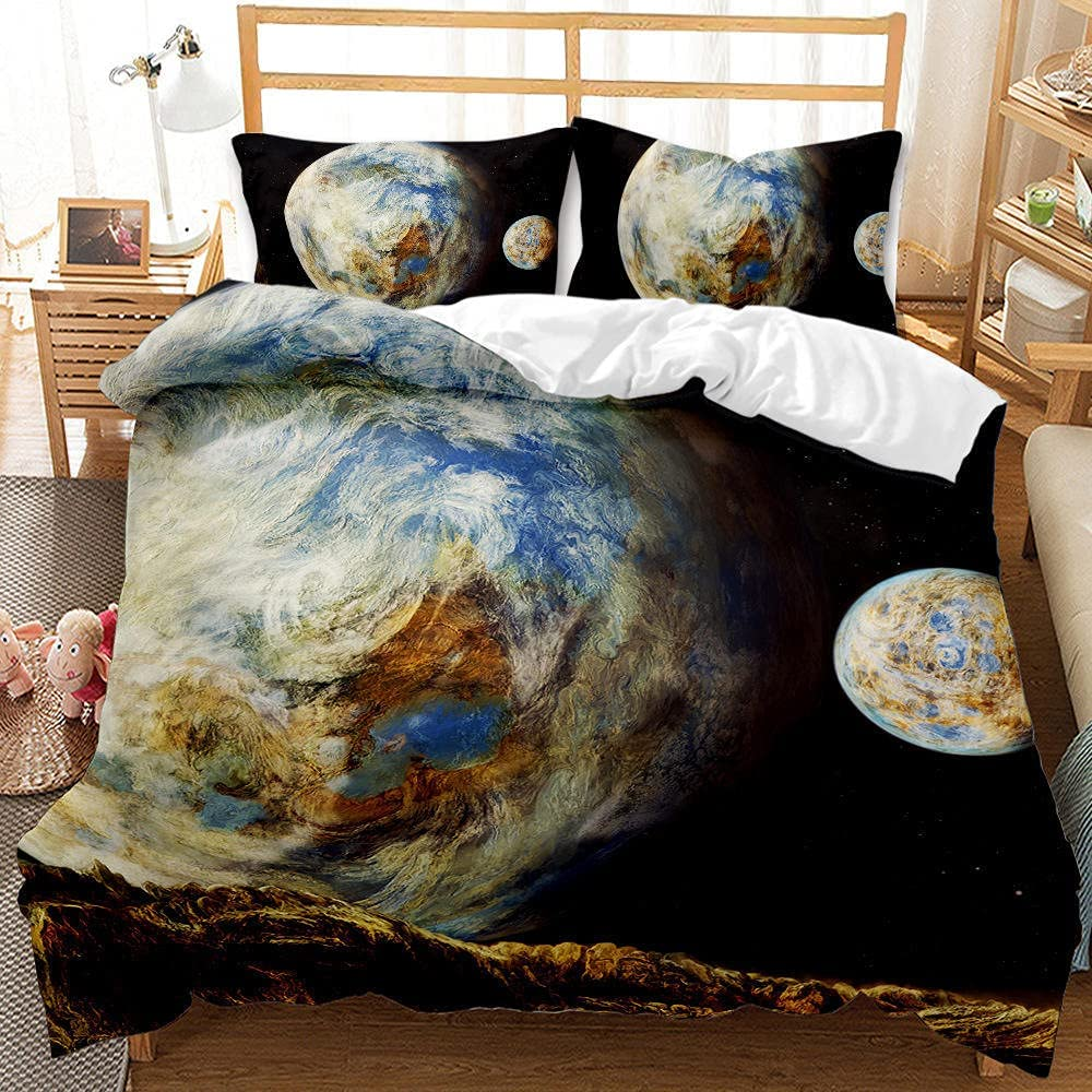 LHNGOD Outer Space Bedding Max 66% OFF Duvet Cover Set Teens Planet Max 75% OFF 3D Astro