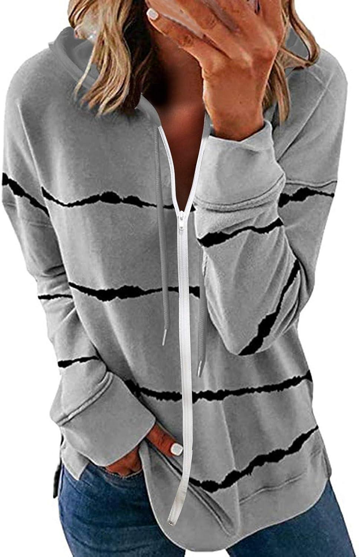 Long Sleeve Hoodies for Womens Casual Sweatshirt Striped Print Full Zip Coat Lightweight Comfy Jacket Tops