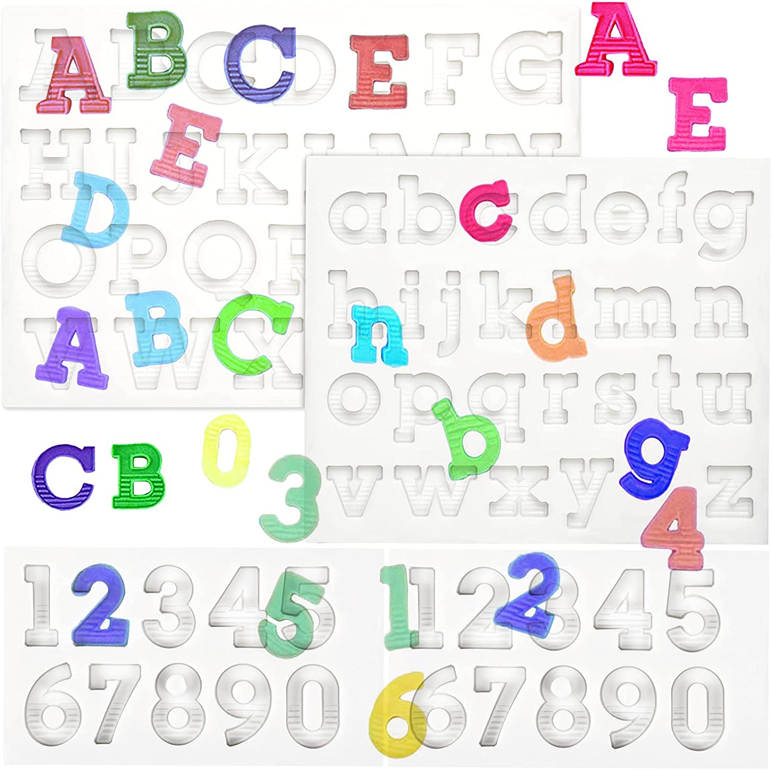 4Pieces Mini Letters Numbers Resin Large special price Thick-Durable Molds Sil Direct store Kit