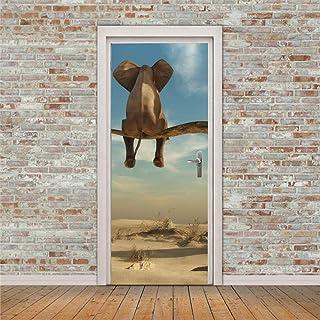 Décoration De La Maison Autocollants De Porte Autocollant De Porte 3D Branche D'Arbre Éléphant 3D Pvc Papier Peint Auto-Ad...