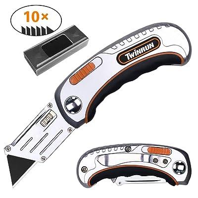 TWINRUN Folding Utility Knife Box Cutter with D...
