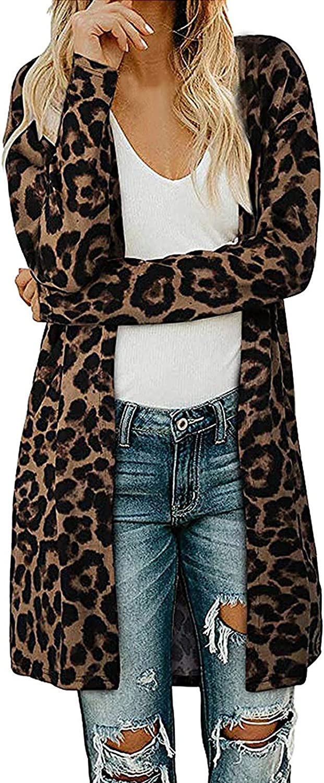YfiDSJFGJ Open Front Knit Cardigan Long Sleeve Sweater Leopard Print Cardigan Fashion Womens Clothing