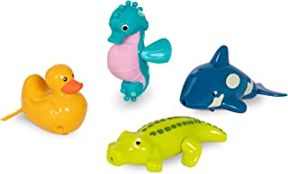 Battat – Wind-Up Bath Toys – 4 pcs – Animal Water Toys for the Tub, Pool – Floating, Swimming – Seahorse, Croc, Whale, Duc...