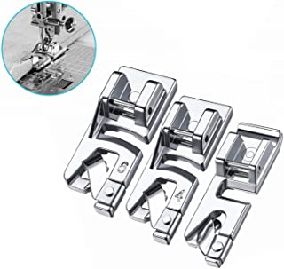 YEQIN 3 Pieces Narrow Rolled Hem Sewing Machine Presser Foot Set for Singer, Brother, Janome, Kenmore, and More Household Multi-Function Sewing Machines (3mm, 4mm, 6mm)