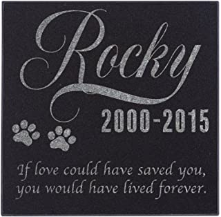Personalized Pet Memorial Stone - Granite Dog or Cat Grave Marker | 4 Sizes |Sympathy Poem, Loss of Pet Gift, Indoor - Outdoor Tombstone Headstone - Dog Grave Marker w/Pet Name