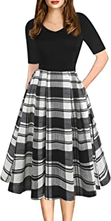 oxiuly Women's Vintage Elegant V-Neck Casual Party Cocktail Swing Work Midi Dress with Pockets OX295