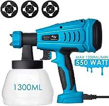 Pistola de Pintura 550W Tilswall 1200ml/Min Pistola de Pulverizacion 120 DIN/S Pintura Eléctrica con 3 Boquillas(φ1.0mm,φ1.8mm,φ2.6mm), Recipiente de 1300 ml para Pintura y Decoración de Bricolaje